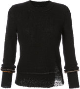 Raquel Allegra long sleeve distressed knitted sweater - women - Cotton/Polyester - 3