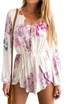 Simplee Apparel Women's Boho Long Sleeve Strappy Floral Print Short Jumpsuit
