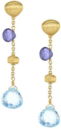 Marco Bicego Paradise Blue 18K Yellow Gold, Blue Topaz & Iolite Drop Earrings