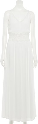 Nina Leonard Women's Crochet Trim Maxi Dress