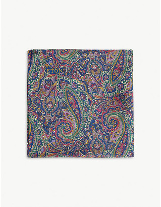 Eton Paisley print silk pocket square