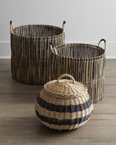 Horchow Woven Baskets with Black Accents