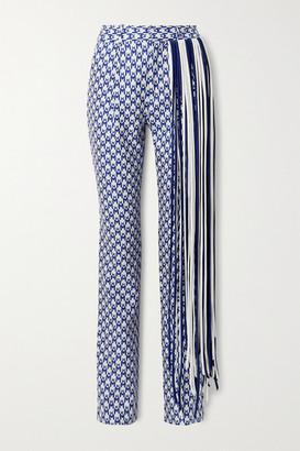 Area Fringed Houndstooth Cotton-blend Straight-leg Pants - Royal blue