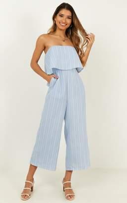 Showpo To Be Honest Jumpsuit in blue stripe - 6 (XS) Wide Leg
