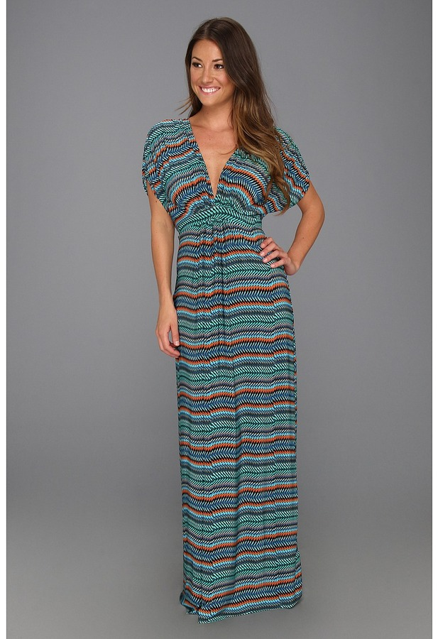 T-Bags Tbags Los Angeles - Deep V-Neck Ruched Sleeve Dolman Long Dress (EM7 Print) - Apparel