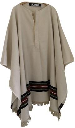 Jacquemus La Collectionneuse Ecru Wool Coat for Women
