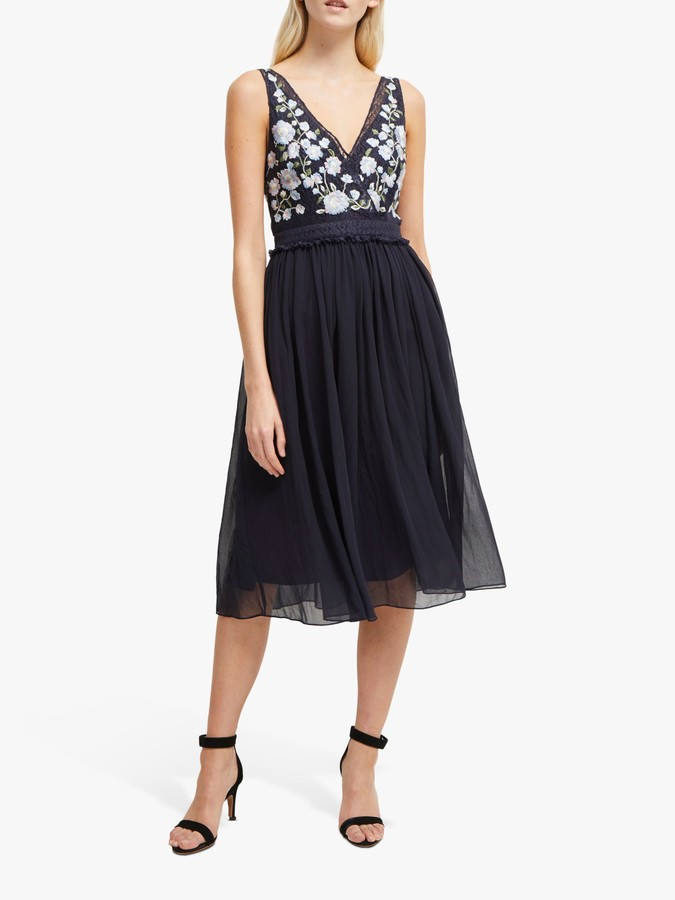 French Connection Abriana V-Neck Embroidered Dress, Utility Blue