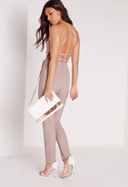 Missguided Crepe Back Strap Detail Romper Nude