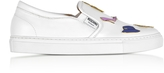 Moschino Optic White Leather Slip On Sneakers w/Pins
