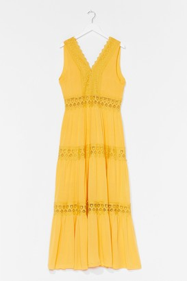 Nasty Gal Womens Tier for It Broderie Anglaise Midi Dress - Yellow - 14