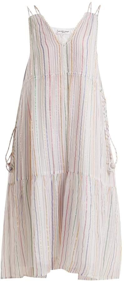 Apiece Apart Daphne metallic-striped cotton-blend midi dress