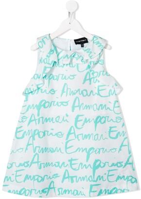 Emporio Armani Kids Logo-Print Ruffled-Neck Dress