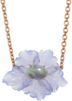 Irene Neuwirth 29.52 Carat Carved Chalcedony Opal Flower Necklace - Rose Gold