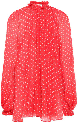 Zimmermann Ninety-six Swing Gathered Polka-dot Silk-georgette Blouse