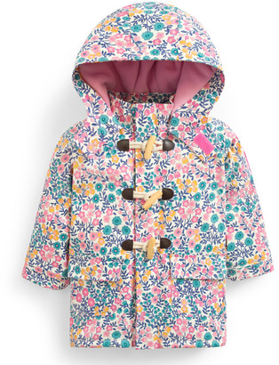 Jo-Jo Jojo Maman Bebe JoJo Maman Bebe Girls' Rain Coats Meadow - White & Blue Meadow Floral Toggle-Front Raincoat - Infant