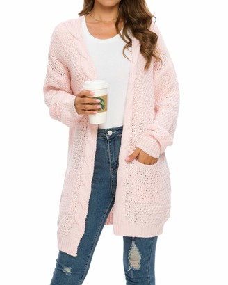 MINTLIMIT Women Cardigans Sweater Open Front Loose Outwear Long Sleeve Cable Chunky Knit Cardigan with Pockets (Grey X-Large)