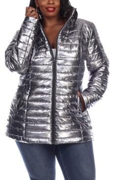 White Mark Women's Plus Size Metallic Puffer Coat