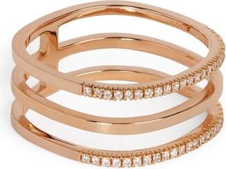 VANRYCKE Rose Gold And Diamond Triple Ring