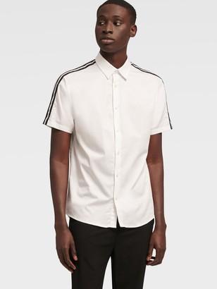 DKNY Men's Short Sleeve Stripe Shirt - Bright White - Size XS