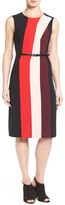 Halogen Belted Colorblock Sleeveless Dress