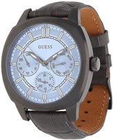 GUESS GUESS? Men's Prime 43mm Grey Leather Band IP Steel Case Quartz Dial Analog Watch W0660G2