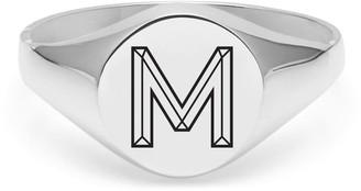 Myia Bonner Silver M Facett Initial Signet Ring
