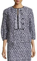 Oscar de la Renta Jacquard Balloon-Sleeve Jacket, Navy/White
