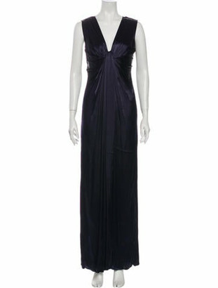 Lanvin V-Neck Long Dress Blue