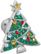 Silver Plated Crystal Christmas Tree Pin