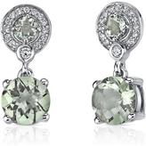Ice 3 1/2 CT TGW Green Amethyst Sterling Silver Dangle Earrings with CZ Accents