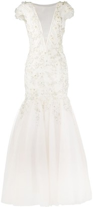 Loulou Pearl Embellished Lace Dress