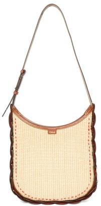 Chloé Darryl Medium Raffia And Leather Shoulder Bag - Brown