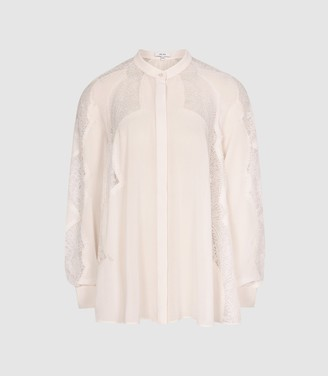 Reiss Fianna - Lace Detailed Semi Sheer Blouse in Nude