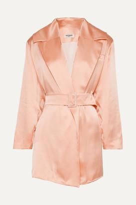 MATÉRIEL Belted Silk-satin Blazer - Peach