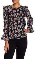 Kensie Floral Print Ruffle Blouse