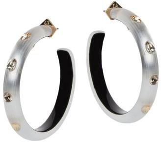 Alexis Bittar Crystal-Studded Lucite Slim Hoop Earrings