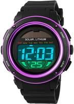 Mastop Women Solar Power Watch Girls Boys LED Sport Watches Digital Waterproof Wrist Watch Purple
