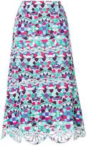 Emilio Pucci printed crochet-trimmed midi skirt