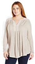 Lucky Brand Women's Plus Size Drop Needle Knit Top