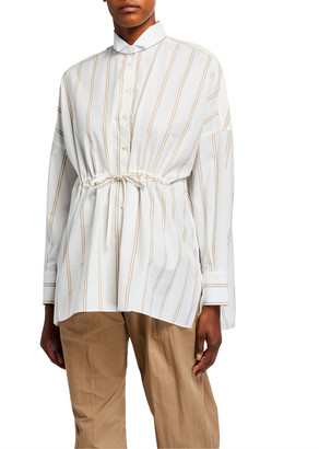 Brunello Cucinelli Striped Cinched-Waist Poplin Shirt