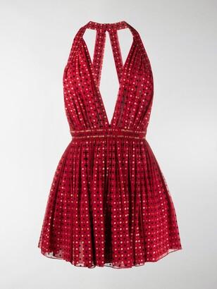 Saint Laurent Floral Appliques Mini Dress