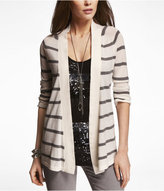 Express Striped Rolled Sleeve Cover-Up Sweater