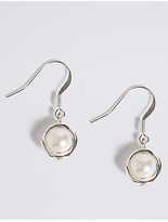 M&S Collection Capped Pearl Effect Drop Earrings