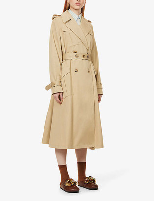 J.W.Anderson Double-breasted flared-hem cotton trench coat