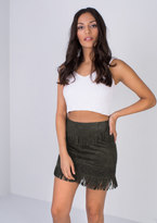 Missy Empire Malita Khaki Tassel Suede Mini Skirt