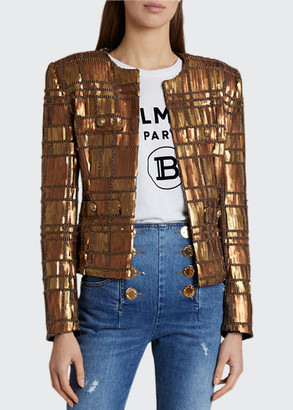Balmain Sequined Tartan Jacket