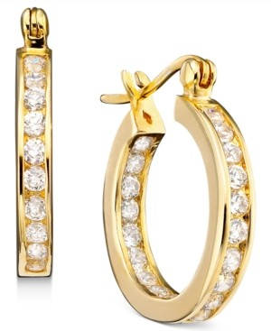"""Giani Bernini Small Cubic Zirconia Inside Out Hoop Earrings in Sterling Silver, 0.75"""", Created for Macy's"""