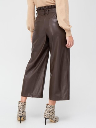 Very Faux Leather Cropped Trousers - Chocolate