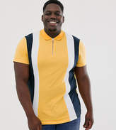 Asos Design ASOS DESIGN Plus polo shirt with vertical panels and zip neck in yellow