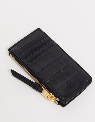AllSaints Little Marlborough crocodile wallet in black